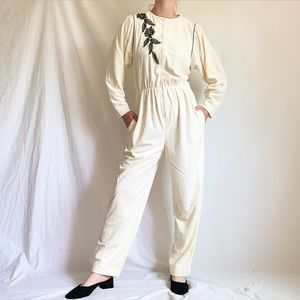 Vintage 1980s Cream Embroidered Velour Jumpsuit
